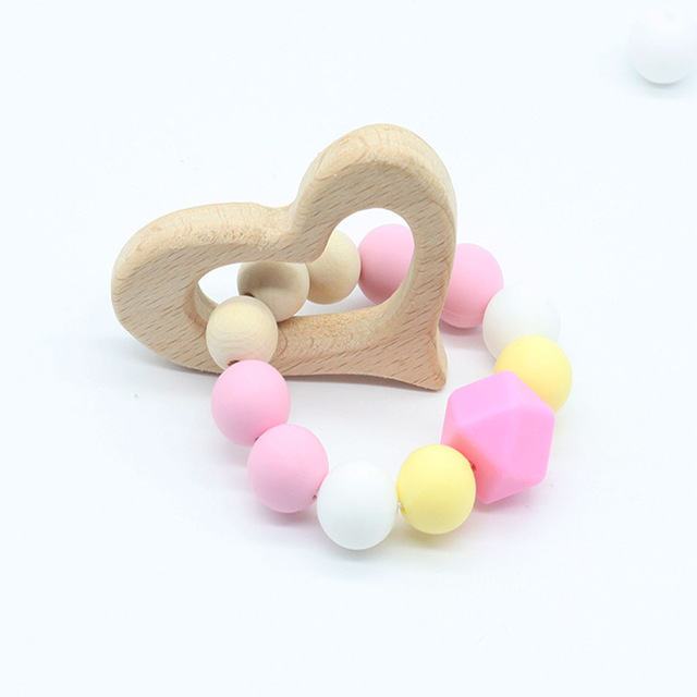 Baby Nursing Bracelets Wooden Teether Crochet Chew Beads Teething Rattles Toy
