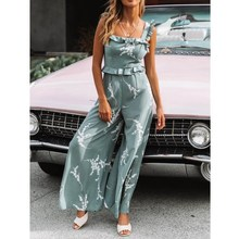 2019 Summer Backless Loose Jumpsuit Women Spring Straps Ruffled Print Casual Sling Romper