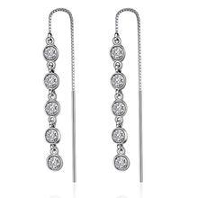Женские серьги гвоздики из серебра 925 пробы с круглыми кристаллами