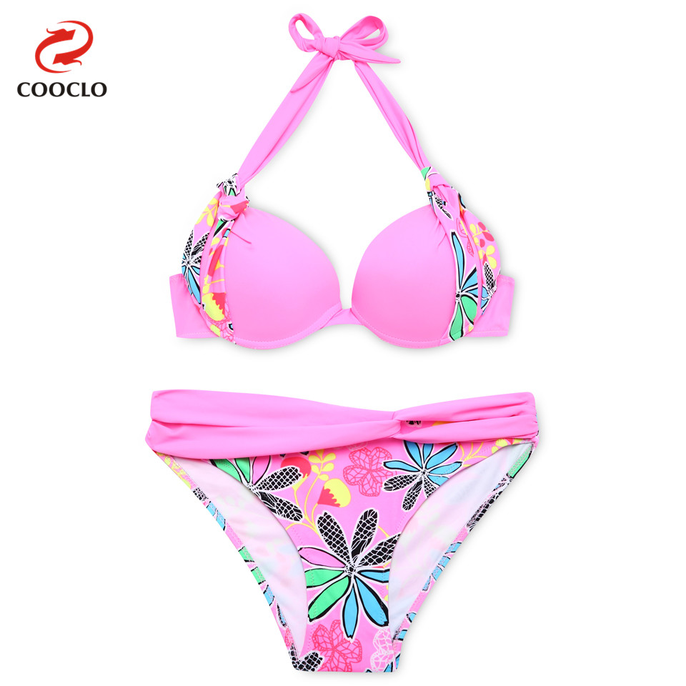 COOCLO New 2019 Bikini Set Push up Swimsuit Dot Print Swimwear Women Bathing Suit Tie-side Bottom Brazilian Biquinis Beach Wear