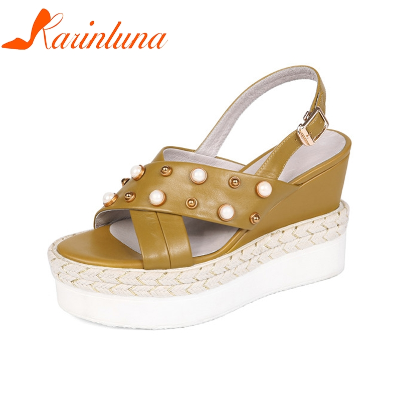 KARINLUNA New women's Genuine Leather Buckle Strap Rivet Wedges Platform Shoes Woman Casual Comfortable Summer Sandals phyanic 2017 gladiator sandals gold silver shoes woman summer platform wedges glitters creepers casual women shoes phy3323