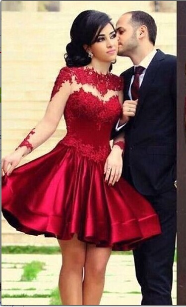 Bungundy 2018 Elegant Cocktail Dresses A line Long Sleeves Appliques See Through Party Plus Size Homecoming Dresses
