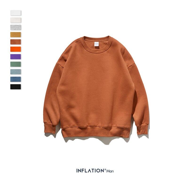 INFLATION Winter Mens Hip Hop Multi-colour Hoodies Velvet Fabrics Fleece Sweatshirts 8 Solid Color Winter Men Sweatshirts 166W17 16