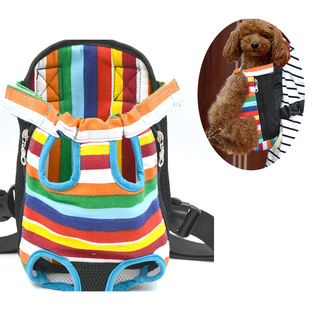 M L XL Canvas Stripe Style dog bag carrier Dog Puppy Cat Legs Out Front chest dog carrier Pet Dogs carrier travel hands free