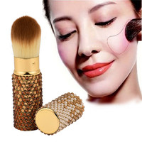 1PCS Retractable Blusher Powder Foundation Liquid Cosmetic Makeup Beauty Brushes Tool Gold Free Shipping Wholesale F14