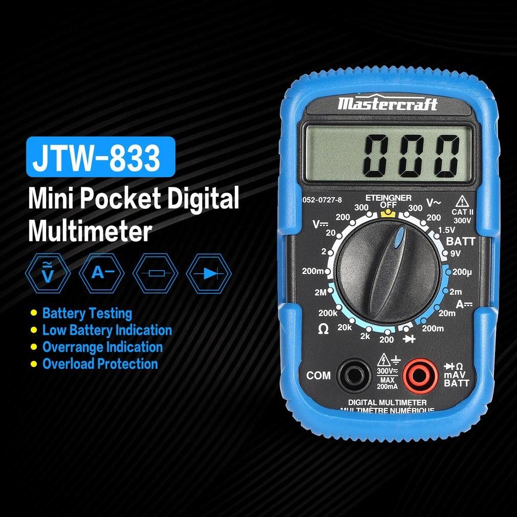Handheld Mini Digital Multimeter 1999 Counts AC/DC Volt Diode Battery Tester Ammeter Voltmeter Multifunction Multimeter