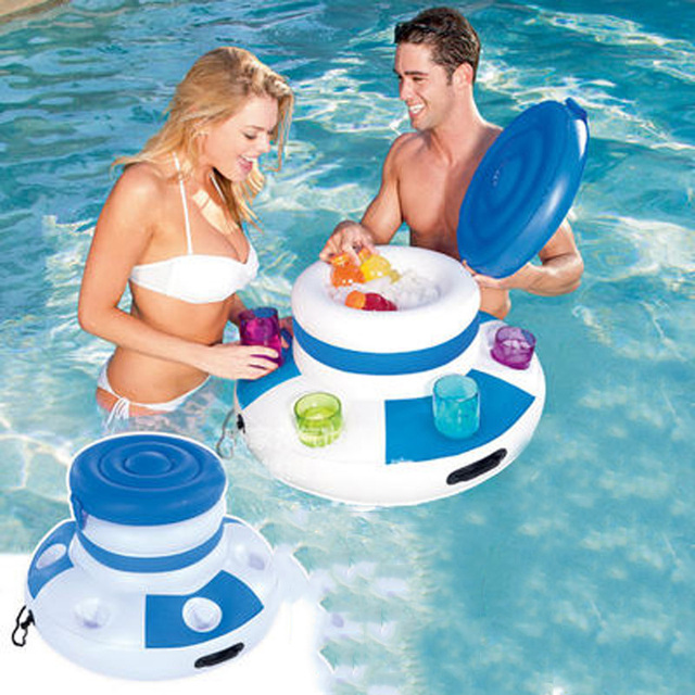 Inflatable Ice Bucket Pool Floats Adults Plastic Ice Cubes Drink Cooler Food Holder Swimming Accessories Pool Toys Boia Piscina