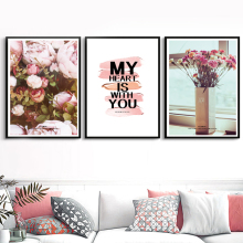 Pink Rose Flower Quotes Landscape Nordic Posters And Prints Wall Art Canvas Painting Pictures For Living Room Bedroom Decor