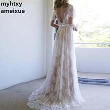 Шампанское неформальное свадебное платье 2020 кружевное Дешевое