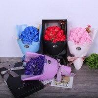 花束のロマンチックなバラ19石鹸の花花束の花クリエイティブクリスマスバレンタインギフトウェディングブーケの花