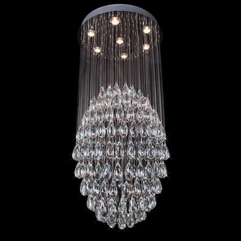 Лидер продаж Современные хрустальные люстры Освещение люстры де Сала свет Большие длинные лестницы Освещение Гарантировано 100% шара лампа