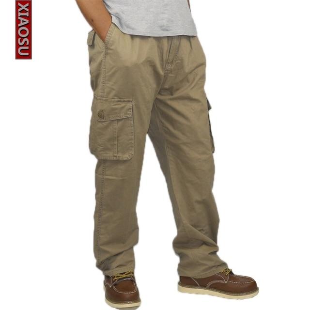 XIAOSU Carga Calças Macacões dos homens Calças Compridas Calças de Algodão Elástico Frouxo Fit Multi-bolsos Folgado Dos Homens Ao Ar Livre Calça Casual Mais tamanho