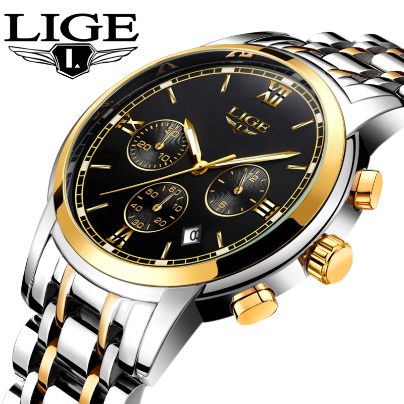New LIGE Watches Men Luxury Brand Fashion Men's Sports Quartz Watch Man Waterproof Full Steel Gold Wrist Watch Relogio Masculino new lancardo luxury brand men gold watches men quartz watch stainless steel men fashion casual wrist watch relogio masculino