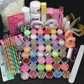 High quality Pro Acrylic Liquid Nail Art Brush Glue Glitter Powder Buffer Tool Set Kit Tips BTT-126 Free shipping