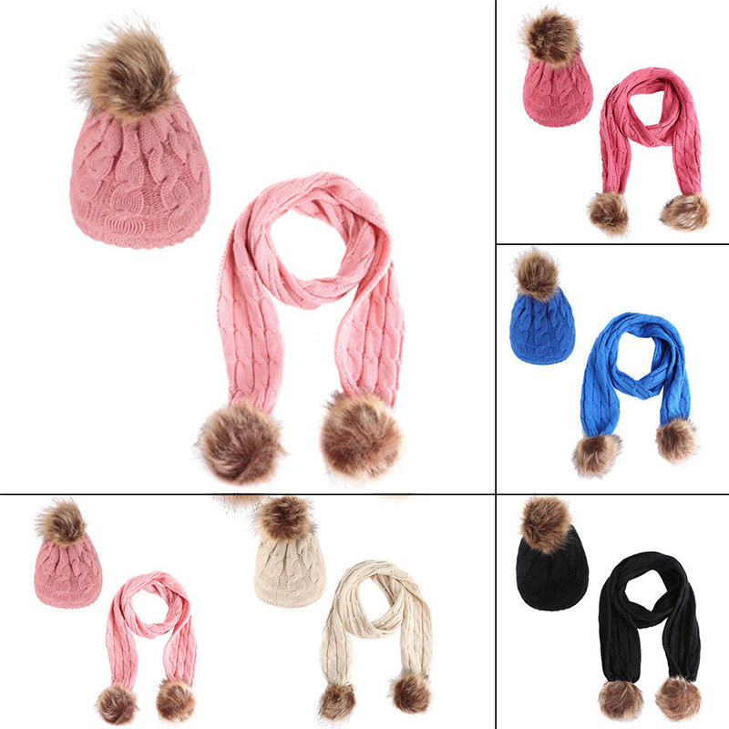 2018 Fashion Warm Winter Hat&Scarf Sets For Kids Girls 2 Pieces Knitted Cotton Unisex Hat Scarf Warm Set For 1-6 Years Gift