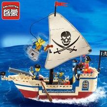Bounty Tijolos iluminai 304 Piratas Do Caribe Navio Pirata Conjunto de Blocos de Construção 3D DIY Tijolos de Construção Brinquedos Educativos