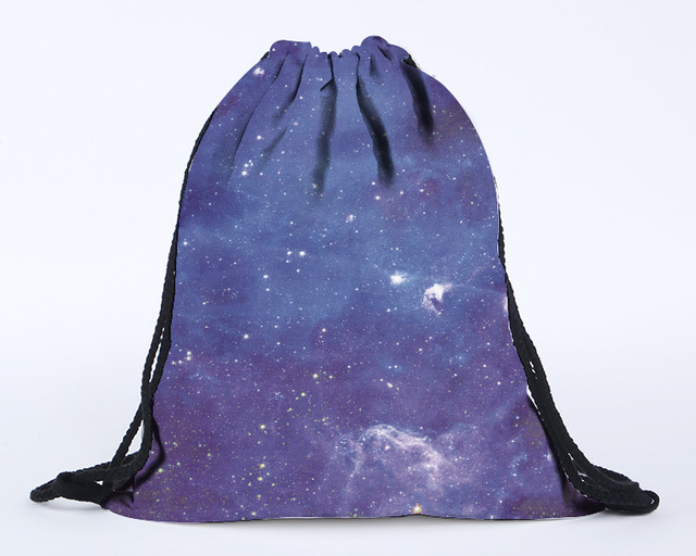 2016 latest design 3D digital printing galaxy blue drawstring backpack blue drawstring  bag beach bag on sale