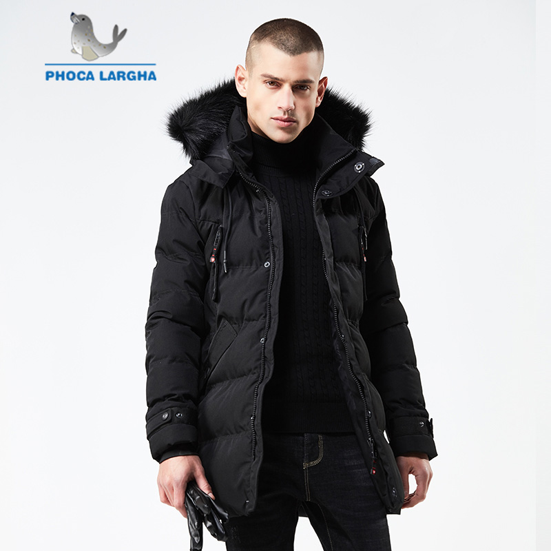 2018 Winter Men Parka Jacket Long Coat Male Warm Thick Cotton-Padded Jackets High Quality Parkas Coat Male Casual Coats Fur Hood