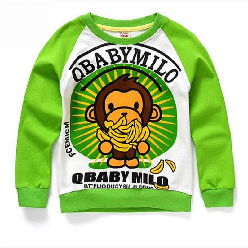 2016 Kids Boys Clothes Monkey Cartoon Sweatshirts Long Sleeve T Shirt Childrens Clothing Cotton Printing Bottoming Shirt