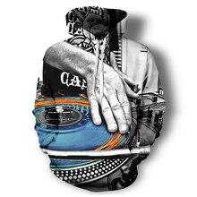 Full color 3D DJ Turntable Hooded Sweatshirt