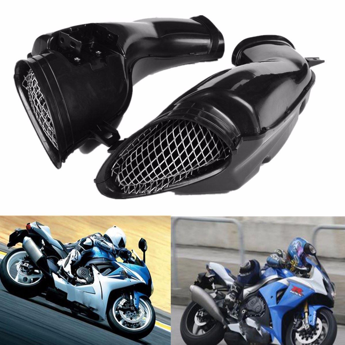 1 Pair Black Motorcycle Air Intake Pipe Vent Tube Fit For SUZUKI /GSXR 600/750/1000 2000-2003 new motorcycle ram air intake tube duct for suzuki gsxr600 gsxr750 2006 2007 k6 abs plastic black
