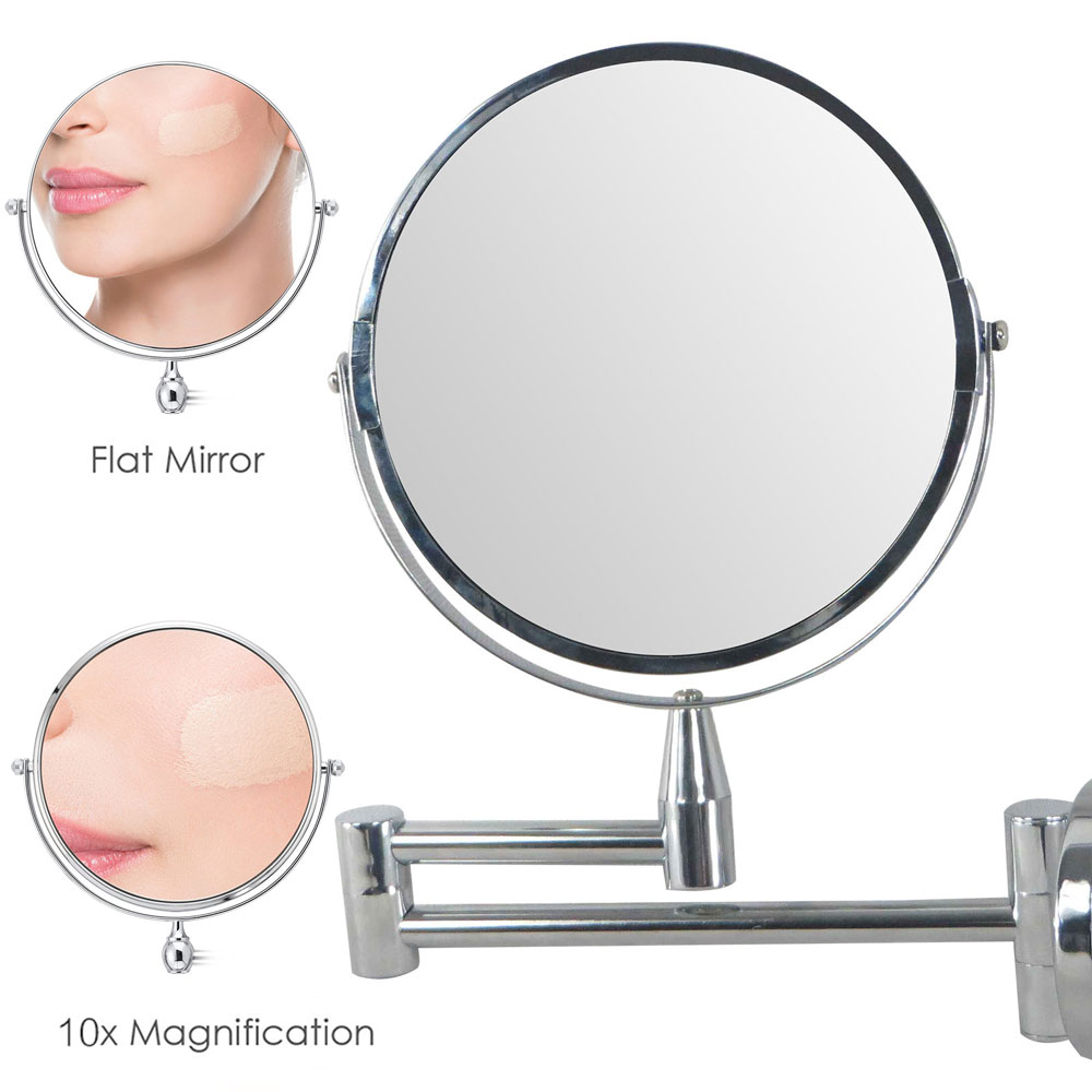 1PCS Bathroom Makeup Mirror 10x Magnification Wall Mounted Vanity 8 Inch Double Sided Swivel