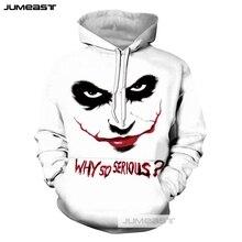 Jumeast Fashion 3D Print Funny HAHA Joker Men/Women Hoodies Crazy Cool Smile Face Sweatshirt Long Sleeve Hip Hop Sport Pullover
