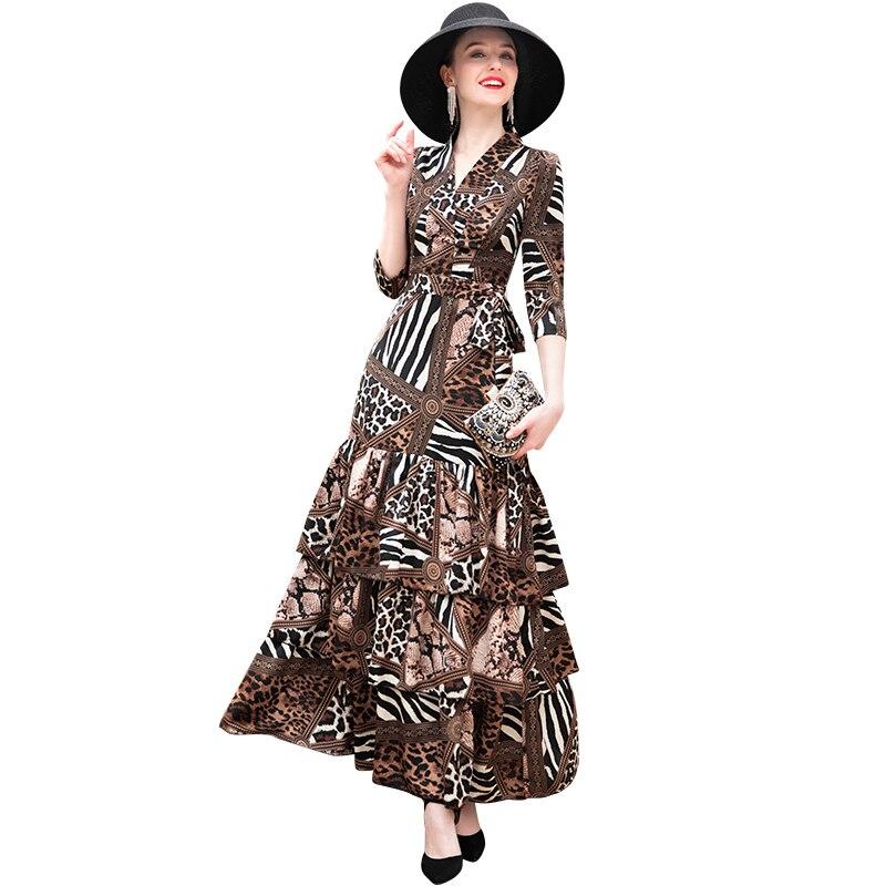 Trench V cou robe imprimé léopard volants Designer longue robe femmes 2/3 manches grande taille fête Maxi cheville longueur robe DZ2126