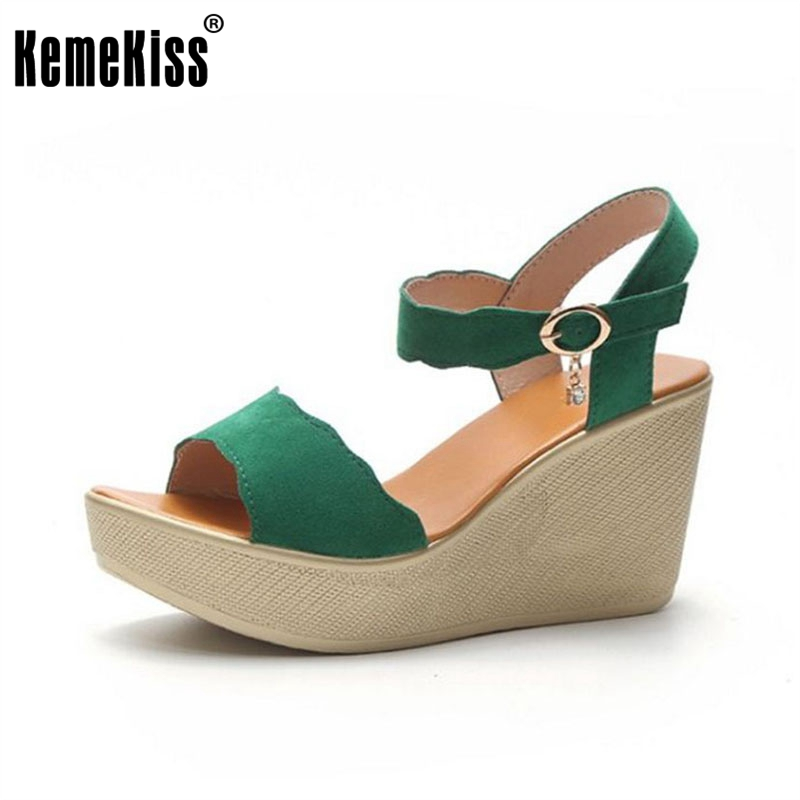 KemeKiss Women Beach High Wedges Sandals Peep Toe Platform Ankle Strap Wedges Sandals Summer Shoes Women Footwear Size 35-39 ribetrini women hot sale cow leather low heel wedges summer casual shoes woman ankle strap open toe platform sandals size 34 39