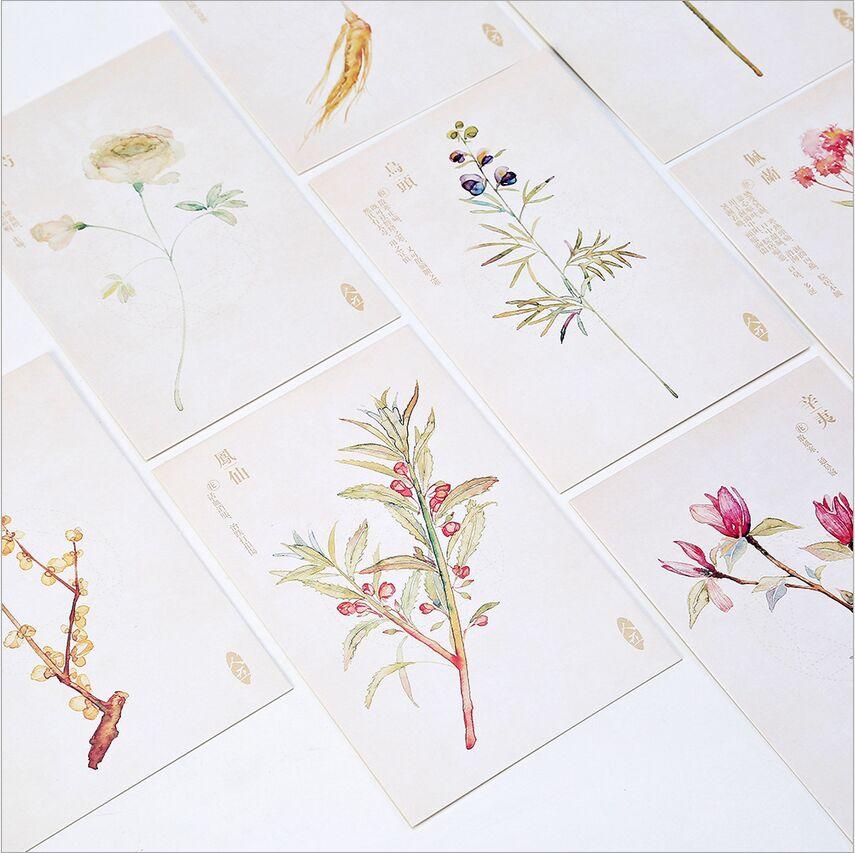 30Pcs/Pack Retro Hand Drawing Season Flower Plants Swatch Postcard DIY Envelope Gift Card Mini Message Card Paper Bookmark