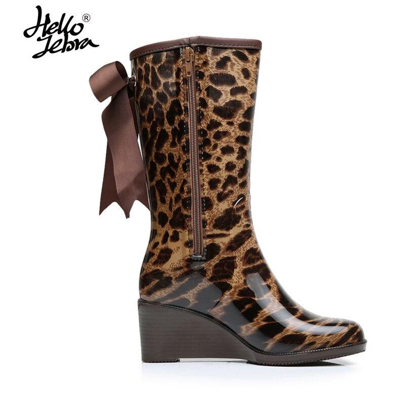 Hellozebra Women Rain Boots  Lady High Heel shoes Slip-on boots High Heels Waterproof Buckle Polka Hoof Heel hellozebra women rain boots lady low heels solid plain elatic waterproof welly buckle nubuck rainboots 2016 new fashion design