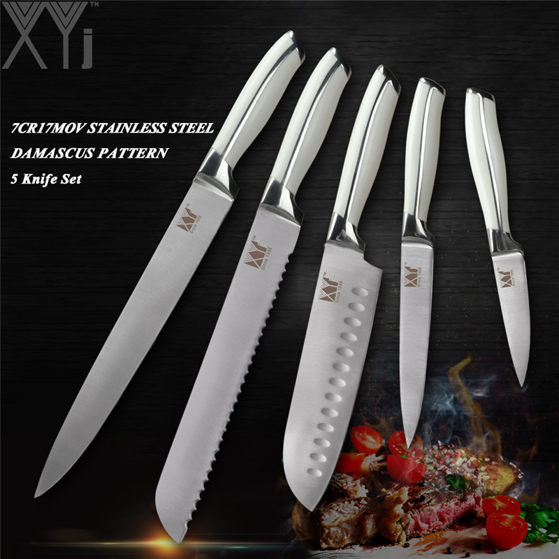 XYj Professional Stainless Steel 5 PCS Kitchen Knife Set Chef Bread Santoku Utility Paring Knive 7Cr17Mov/440A Germany Style
