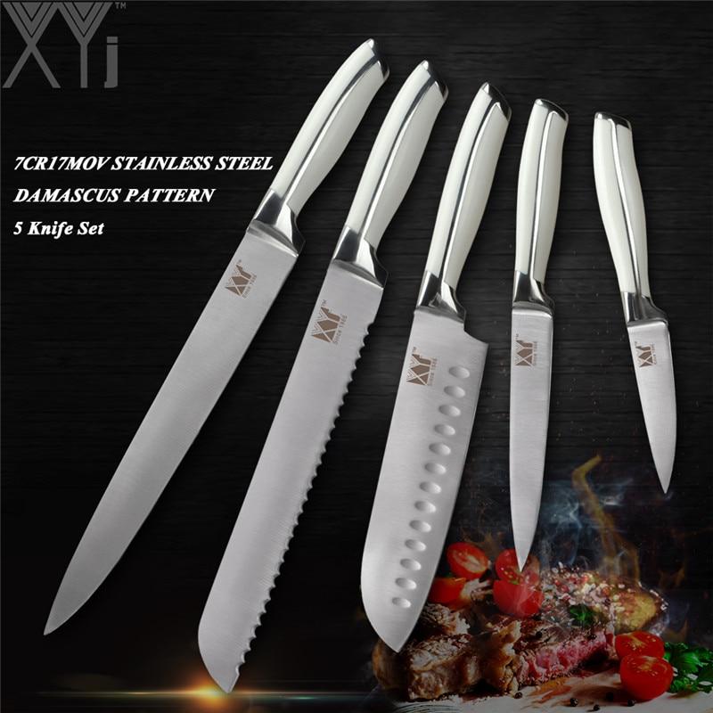 XYj Professionnel En Acier Inoxydable 5 pcs Cuisine Couteau Ensemble Chef Pain Santoku Utilitaire À Éplucher Couteau 7Cr17Mov/440A Allemagne Style