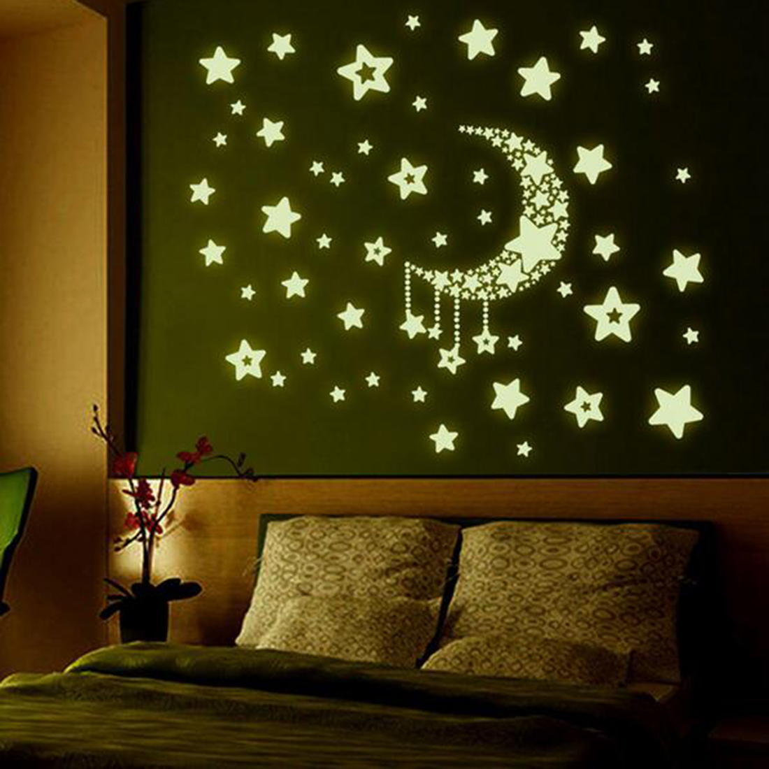 fashion night light luminous stickers home decor home decoration wall sticker rooms wall decals. Black Bedroom Furniture Sets. Home Design Ideas