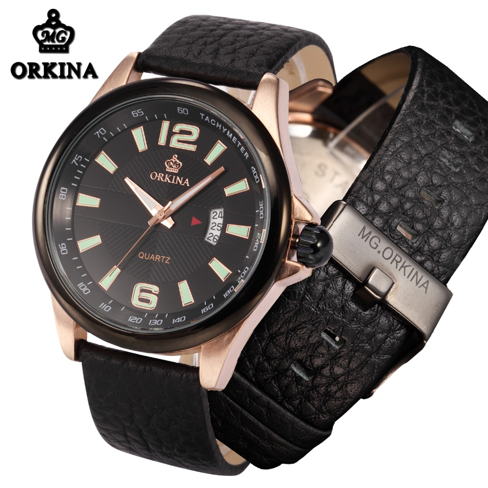Orkina Men Military Rose Gold Analog Quarz Auto Date Leather Band Watch Mens 2016 Original Brand Clock Business Wrist Watches orkina montres 2016 new clock men quarz watch uhr uhr cool horloges mannen gift box wrist watches for men