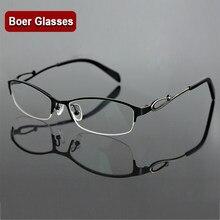 991ab3fc7f Stainless steel women s half rimless eyeglasses frame fashion optical  eyewear RXable myopia glasses 7256