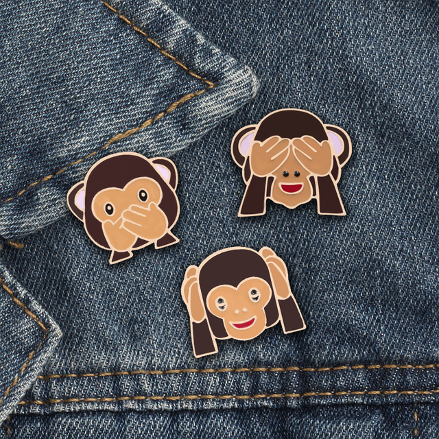 Emoji  Monkey Brooch Pins