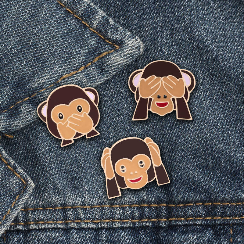 3pcs/set Funny Cover Eyes Ears Pout Monkey Brooch Cartoon Naughty Monkeys Enamel Pins Kids Bag Lapel Pin Fashion Badges Jewelry