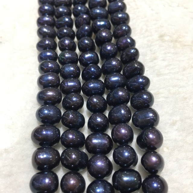 JYX Natural Loose Real 8-9mm Black Freshwater Pearl Strings Strands DIY Handmade