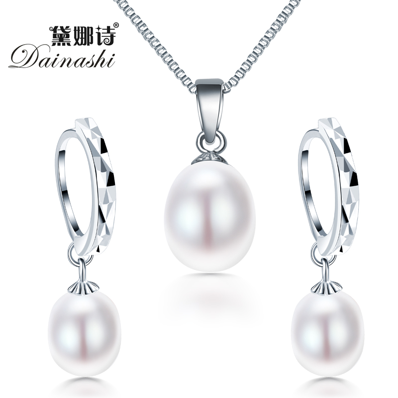 freshwater pearl necklacPromotion jewelry set Classic 925 sterling silver jewelry set genuinee earrings for women wedding