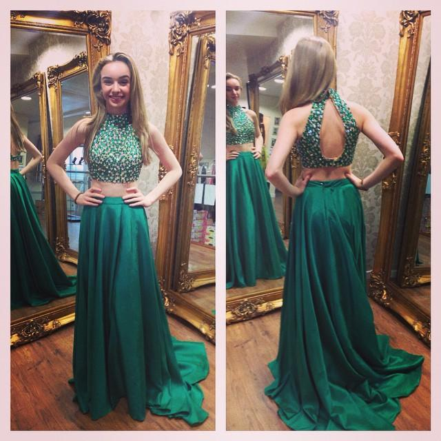 Modest Two Piece   Prom     Dresses   2019 Beaded Crystal vestidos de fiesta largos elegantes de gala A Line Imported Party   Dress