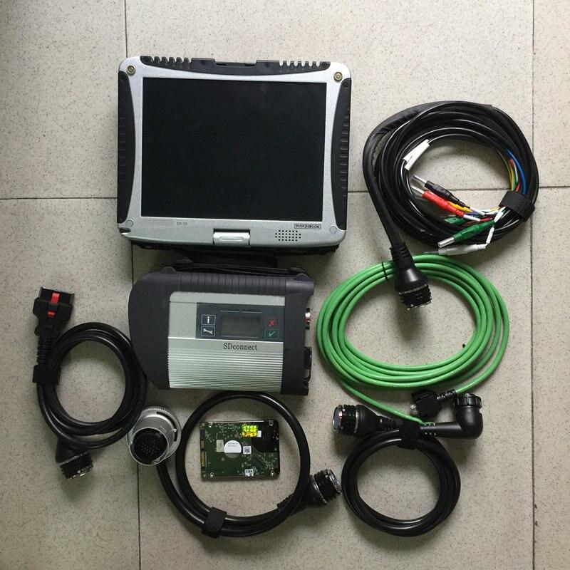 Mb star outil de diagnostic pour mb star c4 multiplexeur avec 5 câbles 320gb hdd plus récent v2019.09 avec ordinateur portable cf19 table écran tactile