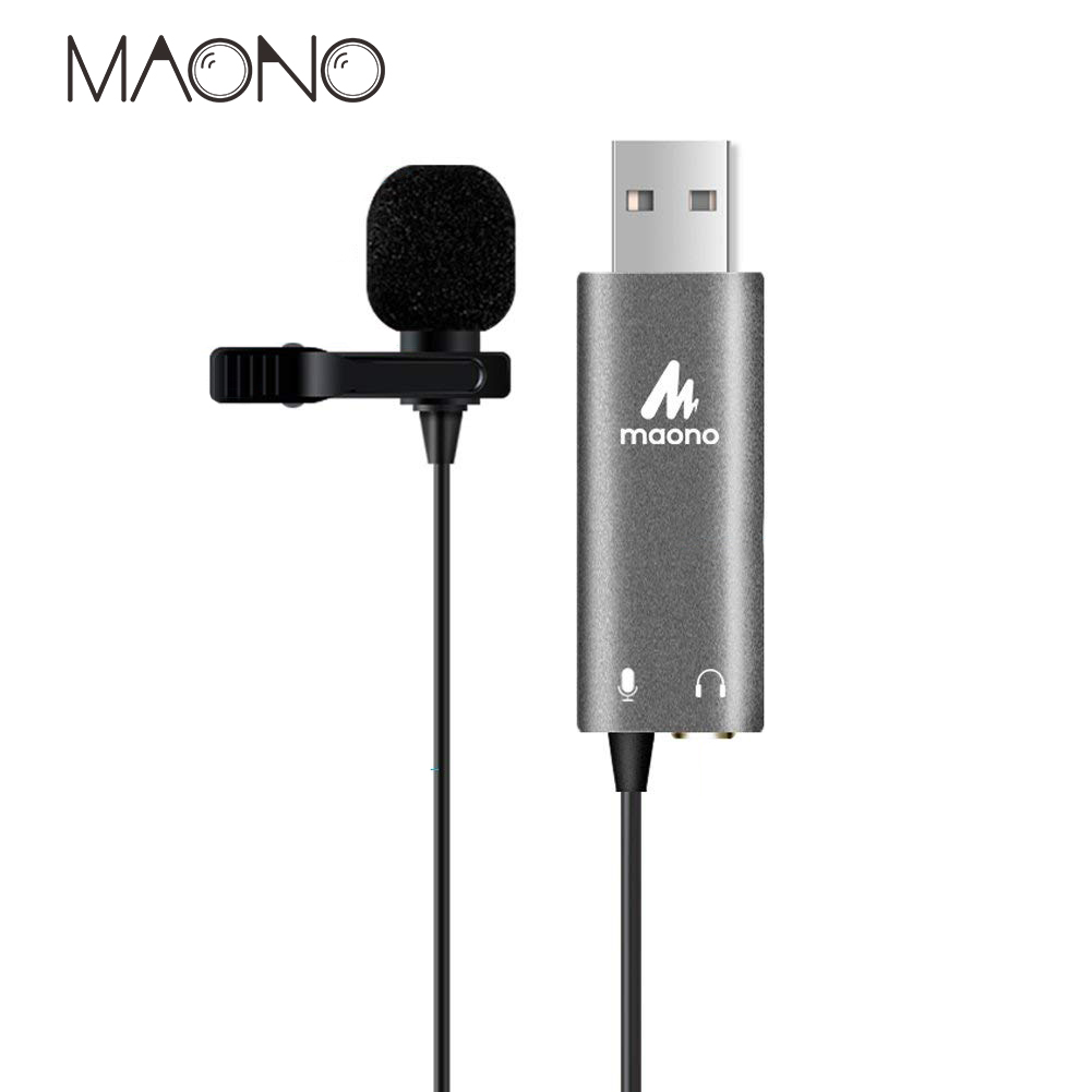 Maono USB Lavalier Microphone professional Condenser Mic Hands Free Shirt Collar Clip-on Microphone for Live broadcast computer heat live broadcast sound card professional bm 700 condenser mic with webcam package karaoke microphone