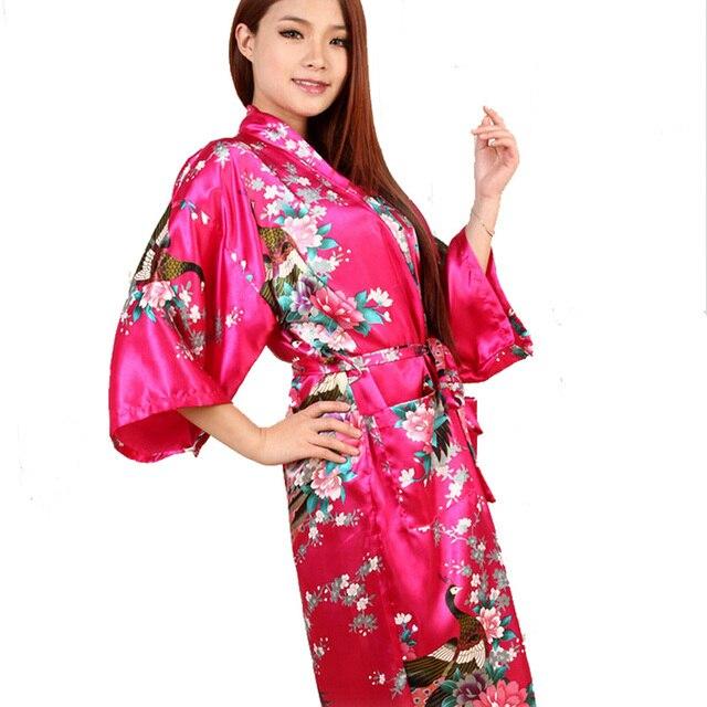 2017 New Silk Kimono Robe Bathrobe Women Red Silk Bridesmaid Robes Sexy  Navy Blue Robes Satin Robe Long Ladies Dressing Gowns d63f7e629