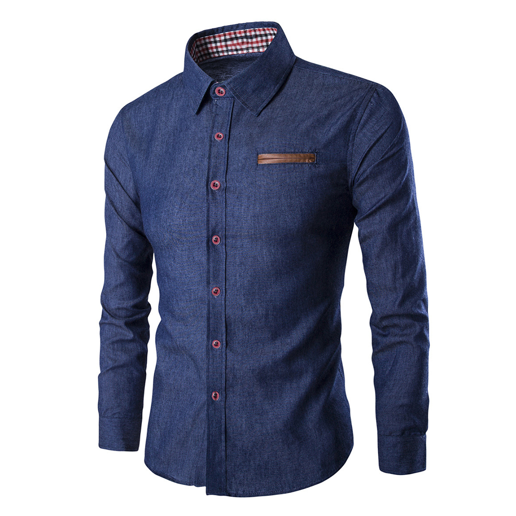 2018 Fashion Brand Mens Shirt Long Sleeve Slim Fit Business Dress Shirts Casual Wedding Blue Denim Male Shirts Camisa Masculina