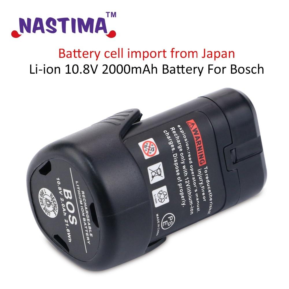Li-ion 10.8 V 2000 mAh Batterie Pour Bosch CHAUVE-SOURIS 411A CHAUVE-SOURIS 411 Perceuse sans fil BAT412A, BAT413A 2 607 336 013, 2 607 336 014