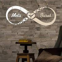 Decorative mirror wall clock,infinity hearts with Custom name ,Love mirror,Mirror Clock,acrylic mirror,infinity mirror