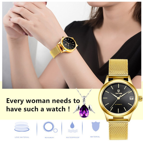 Luxury Brand TEVISE Women Watches Automatic Mechanical Bracelet Watch Ladies Waterproof Steel Dress wrist watches for women Islamabad