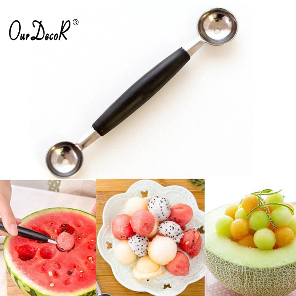 1PC Double-end Stainless Steel Melon Ice Cream Baller Scoop Fruit Spoon DSUK