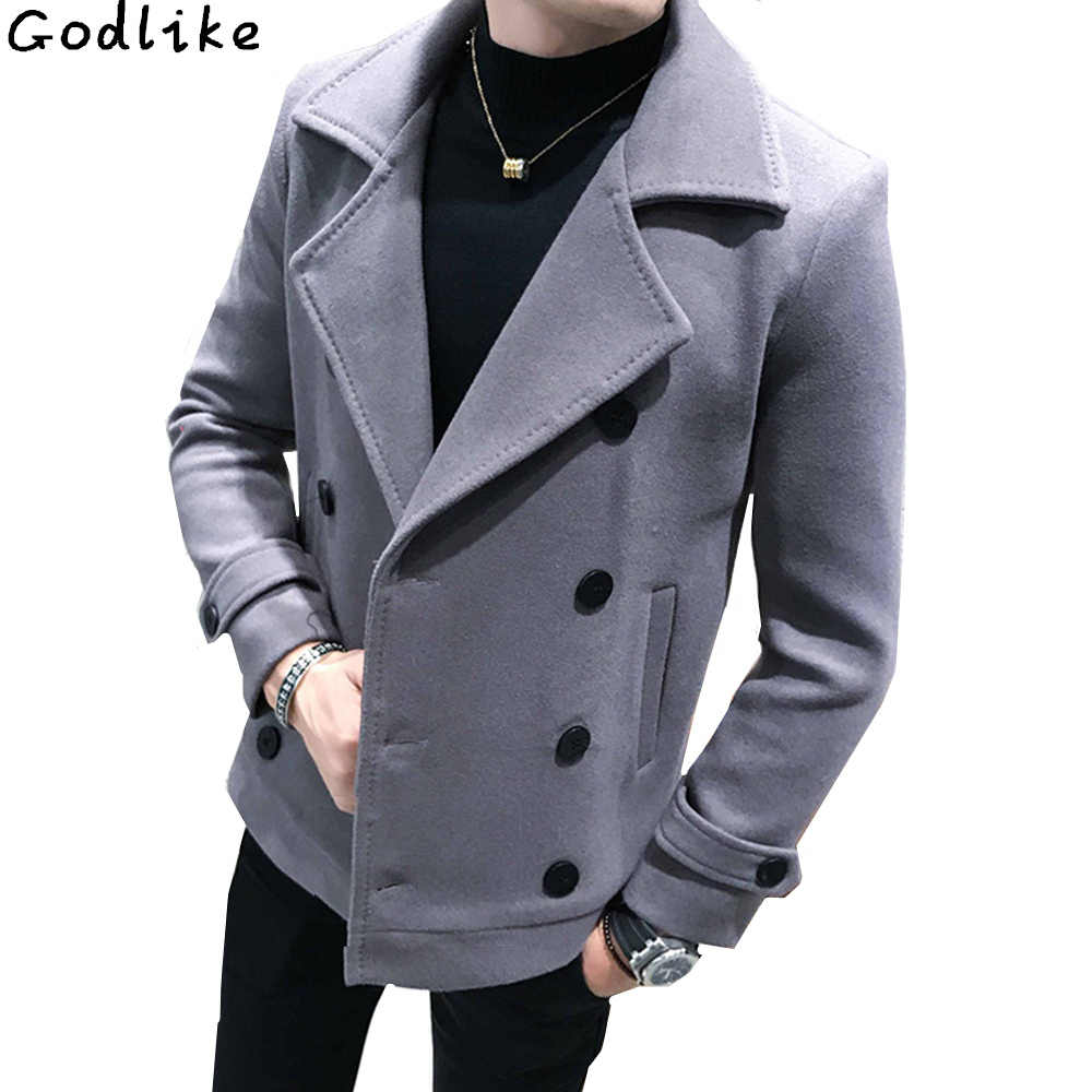 4cb015dc219a New Autumn Winter Men's short Woolen Coat Double-breasted Design Business  Casual Man Warmth Overcoat